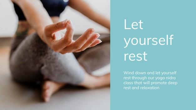 Plantilla de bienestar de práctica de meditación psd para presentación de estilo de vida saludable