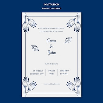 Plantilla de boda para tarjeta de invitación