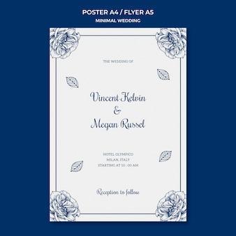 Plantilla de boda para el tema del póster