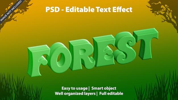 Plantilla de bosque de efecto de texto