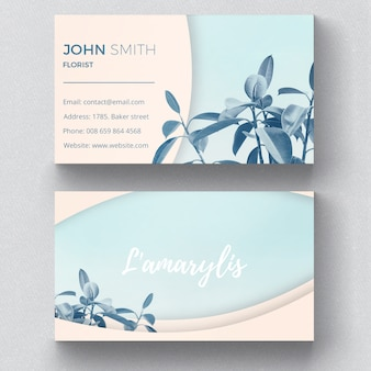 Plantilla botánica de tarjeta de visita