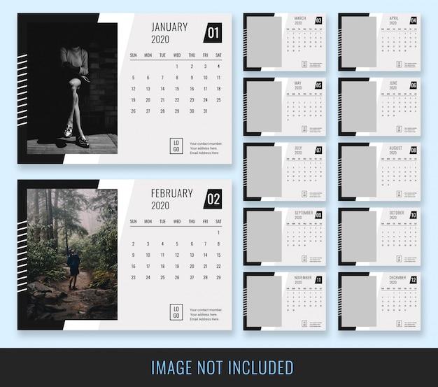 Plantilla calendario blanco negro escritorio 2020