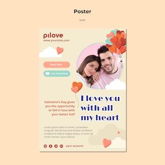Plantilla de cartel de amor con pareja romántica y corazones.