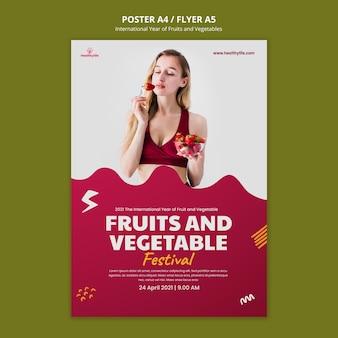 Plantilla de cartel de año de frutas y verduras