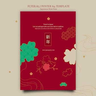 Plantilla de cartel de año nuevo japonés en rojo