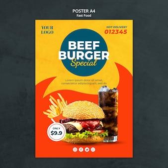 Plantilla de cartel de anuncio de comida rápida