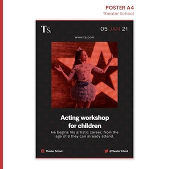 Plantilla de cartel de anuncio de escuela de teatro