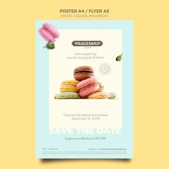 Plantilla de cartel de anuncio de tienda de macarons