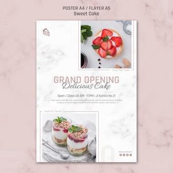 Plantilla de cartel de apertura de delicioso pastel