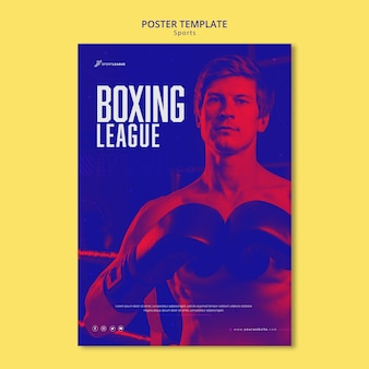 Plantilla de cartel de atleta masculino de boxeo