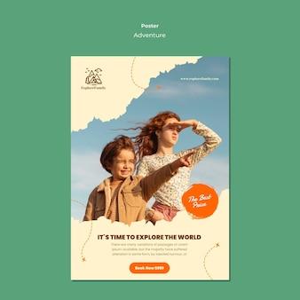 Plantilla de cartel de aventura al aire libre para niños