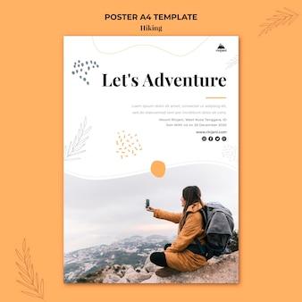 Plantilla de cartel de aventura de senderismo
