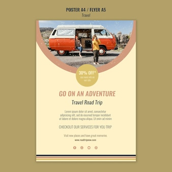 Plantilla de cartel de aventura de viaje