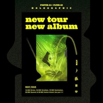 Plantilla de cartel de banda de música holográfica