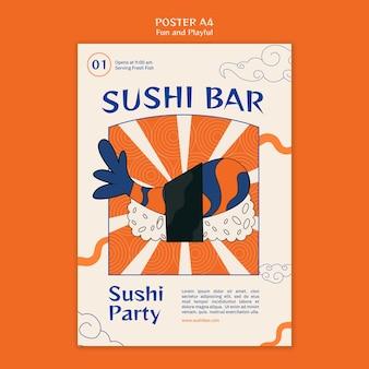 Plantilla de cartel de barra de sushi