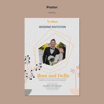 Plantilla de cartel de boda elegante