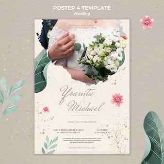 Plantilla de cartel de boda