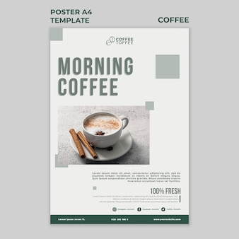 Plantilla de cartel de café de la mañana