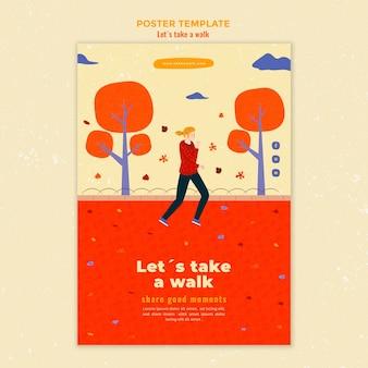 Plantilla de cartel de caminar en la naturaleza