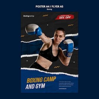 Plantilla de cartel de campamento de boxeo