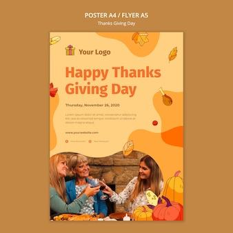 Plantilla de cartel para celebración de acción de gracias