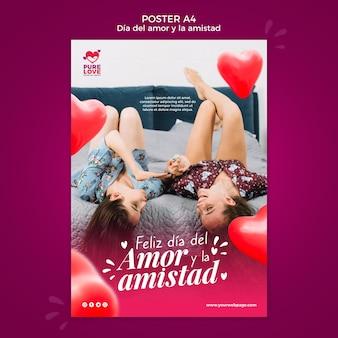 Plantilla de cartel para la celebración del día de san valentín