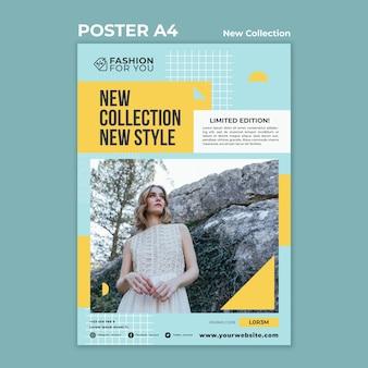 Plantilla de cartel para colección de moda con mujer en la naturaleza.