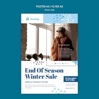 Plantilla de cartel de colección de rebajas de invierno