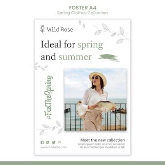 Plantilla de cartel de colección de ropa de primavera