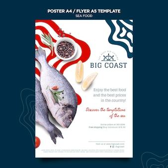 Plantilla de cartel de comida de mar deliciosa
