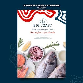 Plantilla de cartel de comida de mar