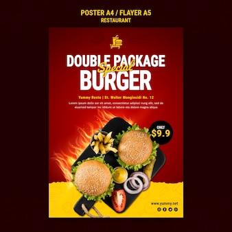 Plantilla de cartel de comida de restaurante