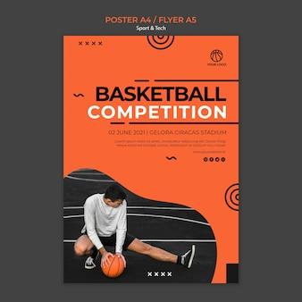 Plantilla de cartel de competencia y hombre de baloncesto