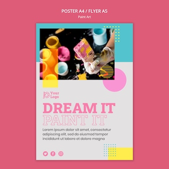 Plantilla de cartel de concepto de arte de pintura