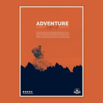 Plantilla de cartel con concepto de aventura
