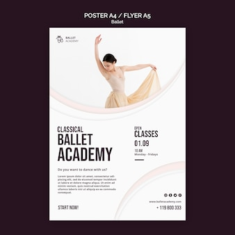 Plantilla de cartel de concepto de ballet