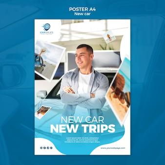 Plantilla de cartel de concepto de coche nuevo
