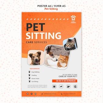 Plantilla de cartel de concepto de cuidado de mascotas