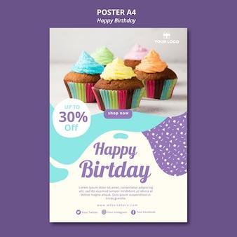 Plantilla de cartel de concepto de feliz cumpleaños