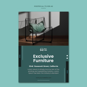 Plantilla de cartel de concepto de muebles