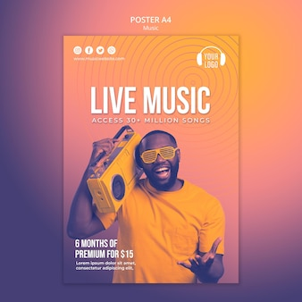 Plantilla de cartel de concepto de música