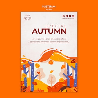 Plantilla de cartel de concepto de otoño