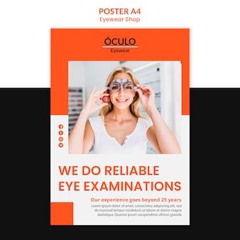 Plantilla de cartel de concepto de tienda de gafas