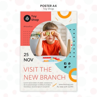 Plantilla de cartel de concepto de tienda de juguetes