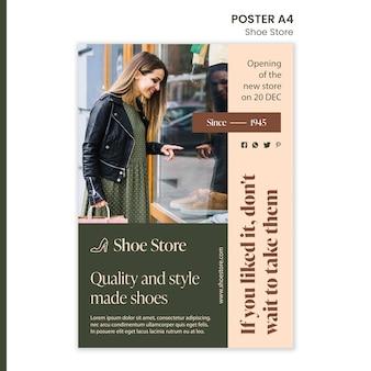 Plantilla de cartel de concepto de tienda de zapatos