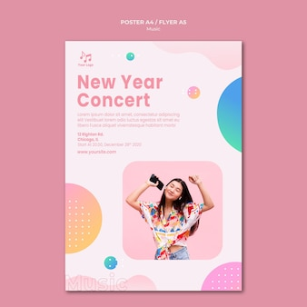 Plantilla de cartel de concierto de año nuevo