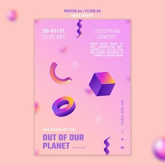 Plantilla de cartel de concierto de música fuera de nuestro planeta