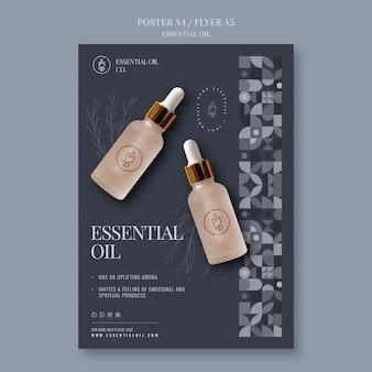 Plantilla de cartel con cosméticos de aceites esenciales.