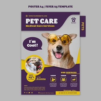 Plantilla de cartel de cuidado de mascotas