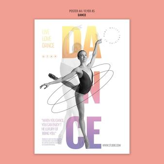 Plantilla de cartel de danza de ballet